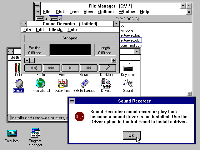 Desktop with applications in Windows 3.1