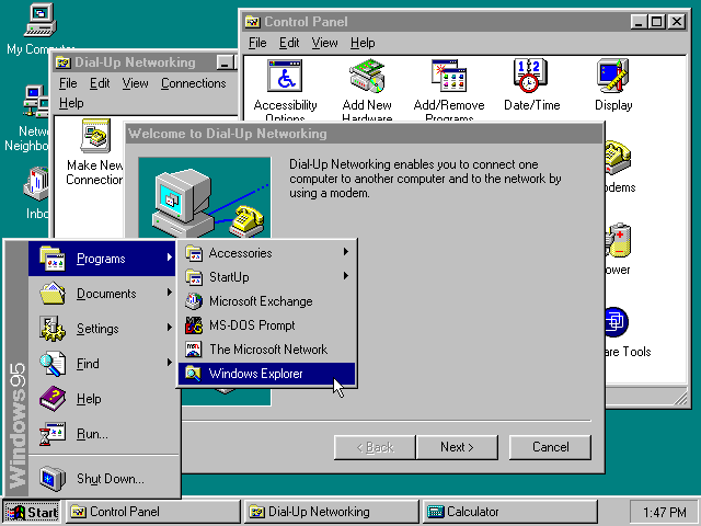 Desktop with applications in Windows 95