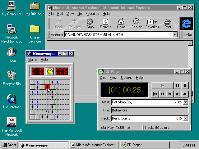 Desktop with applications in Windows 95B