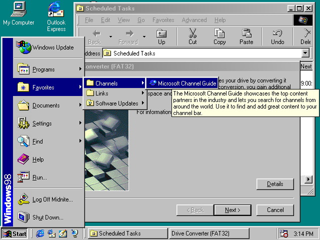 Desktop with applications in Windows 98