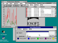 Desktop with applications in Windows NT 3.1 Workstation