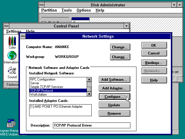Desktop with applications in Windows NT 3.51 Workstation