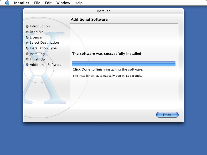 Installation complete in Mac OS X Jaguar