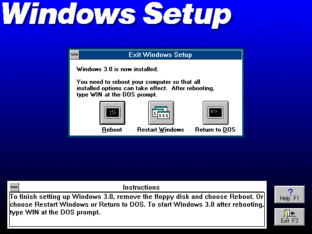 Installation complete in Windows 3.0