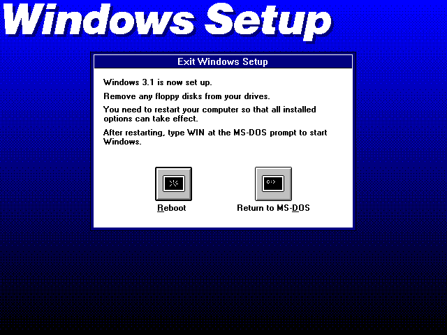 Installation complete in Windows 3.1