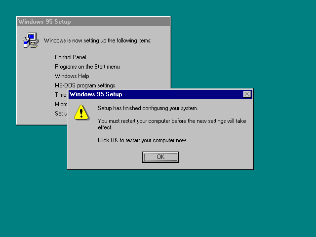 Installation complete in Windows 95