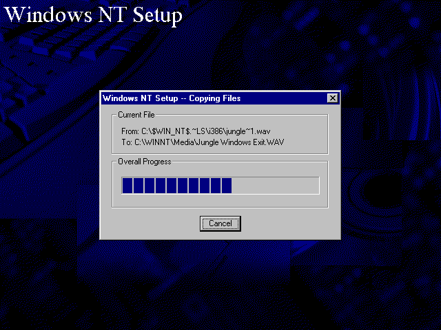 File copying in Windows NT 4.0 Workstation