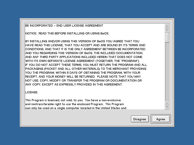 Licence in BeOS R5.0.1 PE