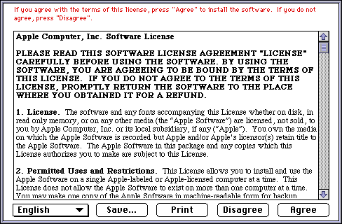 Licence in Mac OS 8.0