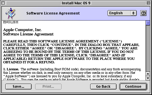 Licence in Mac OS 9.0