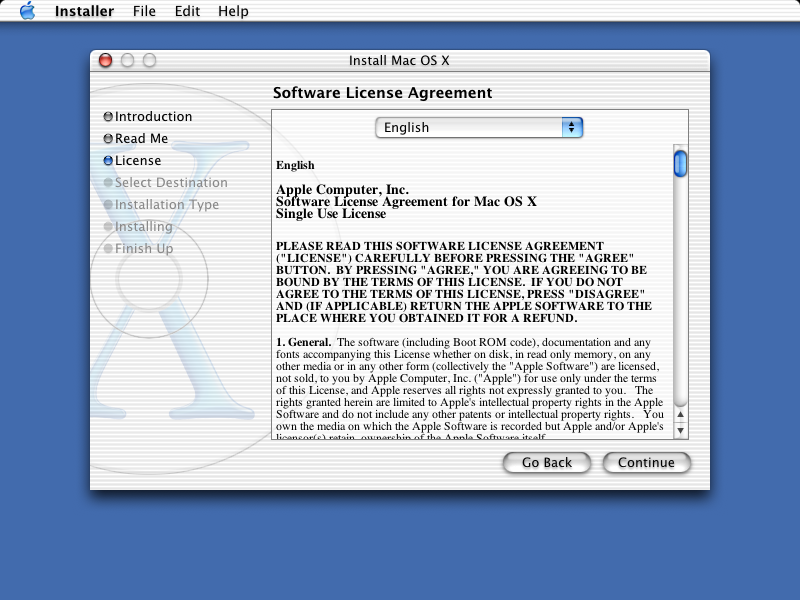Licence in Mac OS 10.1