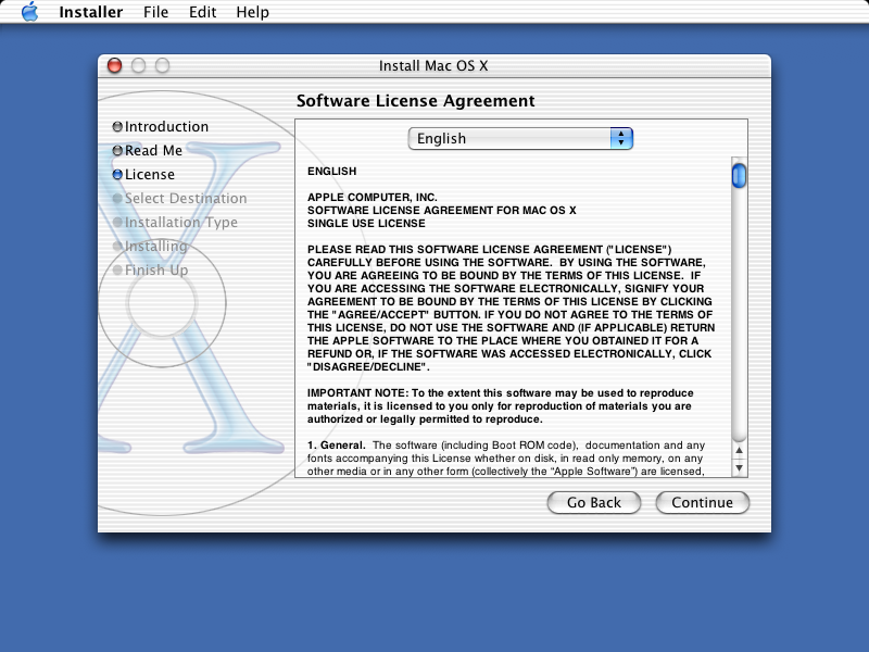 Licence in Mac OS X Jaguar