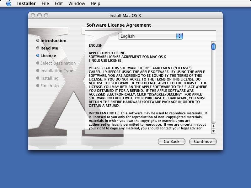 Licence in Mac OS X Panther