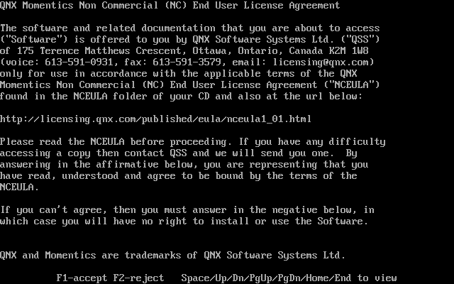 Licence in QNX 6.2.1 NC