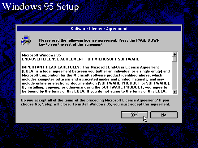 Licence in Windows 95