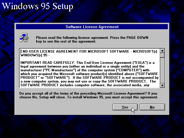 Licence in Windows 95B