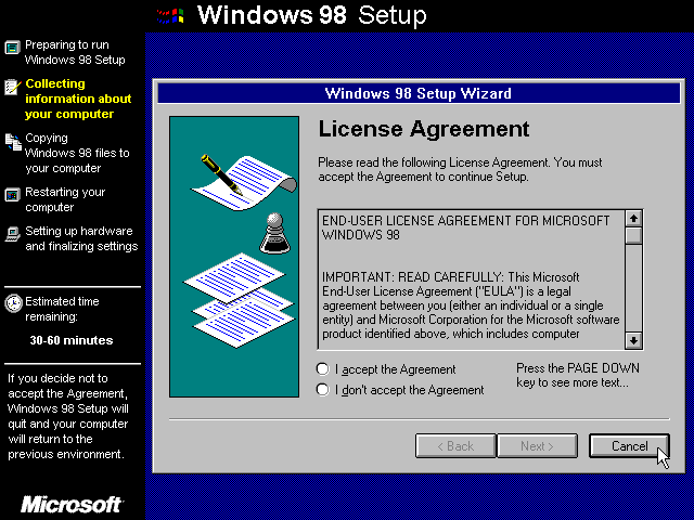 Licence in Windows 98