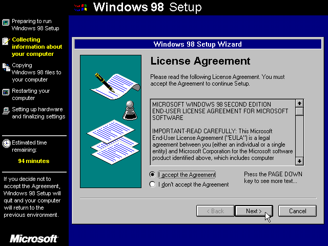 Licence in Windows 98 SE