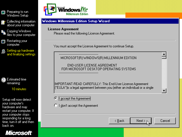 Licence in Windows Me
