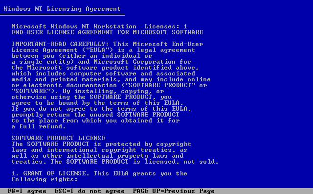 Licence in Windows NT 4.0 Workstation