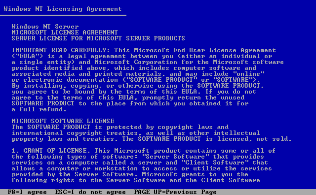 Licence in Windows NT 4.0 Server