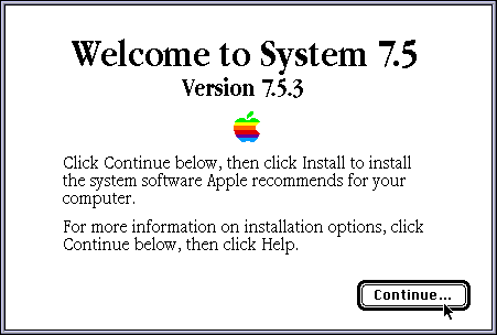 Welcome screen in System 7.5.3
