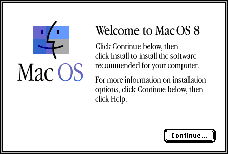 Welcome screen in Mac OS 8.0