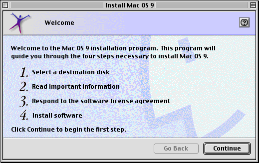 Welcome screen in Mac OS 9.0