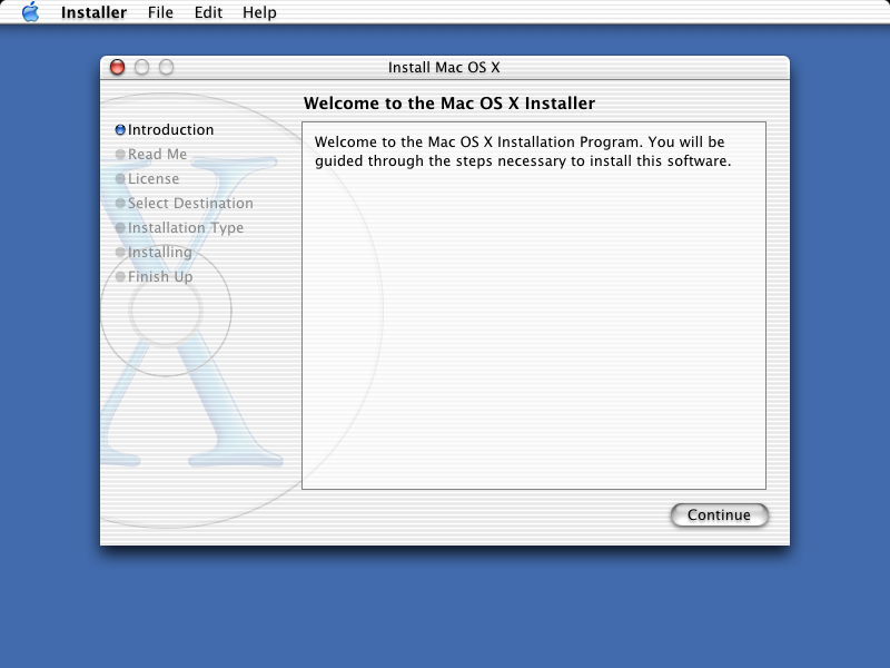 Welcome screen in Mac OS 10.1