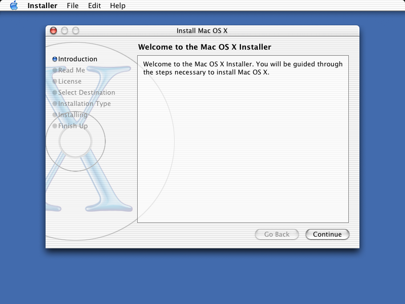 Welcome screen in Mac OS X Jaguar