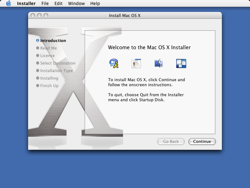 Welcome screen in Mac OS X Panther