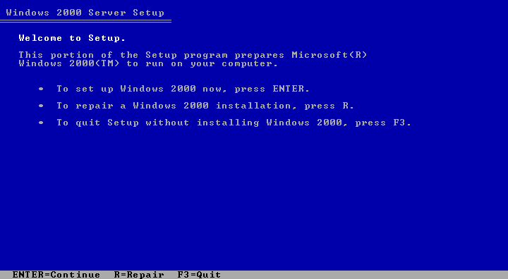 Welcome screen in Windows 2000 Advanced Server