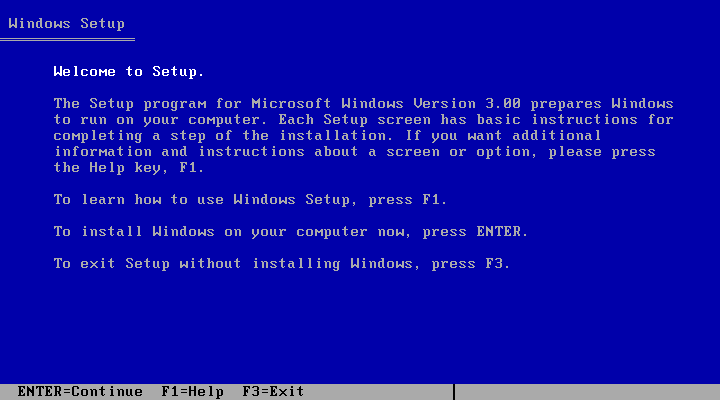 Welcome screen in Windows 3.0