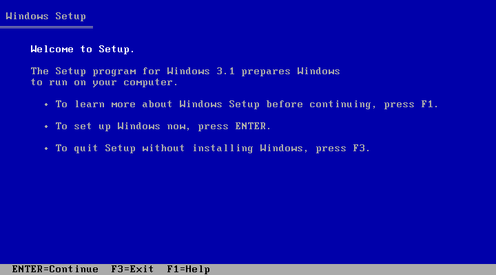 Welcome screen in Windows 3.1