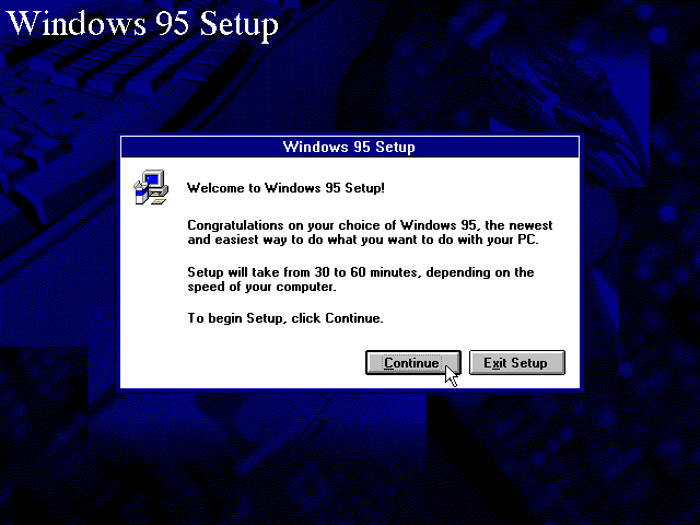 Welcome screen in Windows 95B