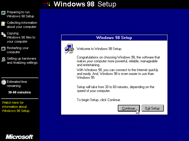 Welcome screen in Windows 98 SE