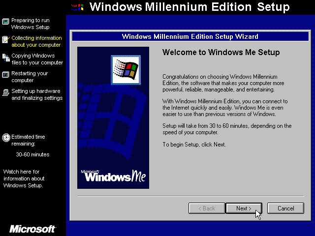 Welcome screen in Windows Me