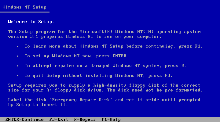Welcome screen in Windows NT 3.1 Workstation