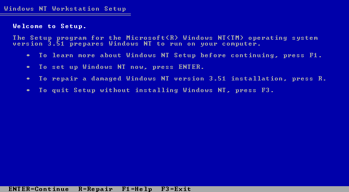 Welcome screen in Windows NT 3.51 Workstation