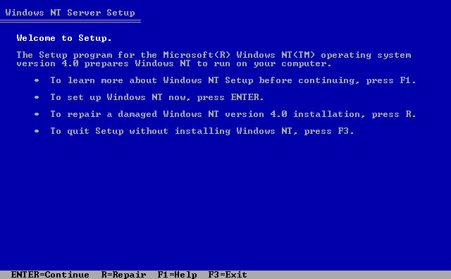 Welcome screen in Windows NT 4.0 Server