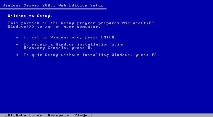 Welcome screen in Windows Server 2003 Web