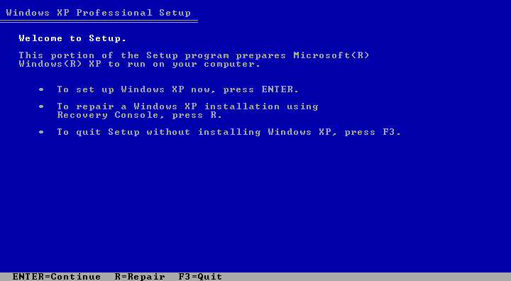 Welcome screen in Windows XP Pro