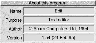 About application in RISC OS 3.7 (About this program)