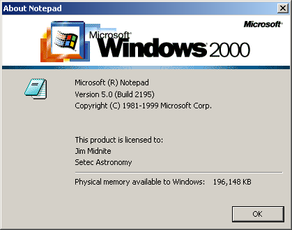 About application in Windows 2000 Pro
