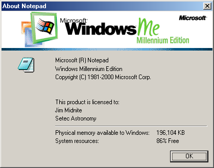 About application in Windows Me