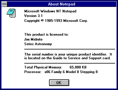 About application in Windows NT 3.1 Workstation