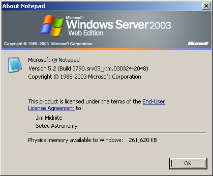 About application in Windows Server 2003 Web