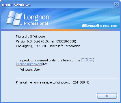 About GUI in Longhorn 4015 (About Windows)