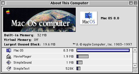 About GUI in Mac OS 8.0 (About This Computer)