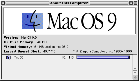 About GUI in Mac OS 9.0 (About This Computer)
